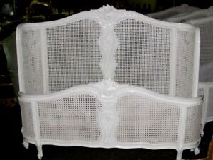 Chic French Country Bombe Curved White Cane Caned Bed