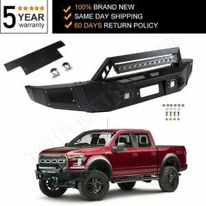 New Step Front Bumper Assembly For 2009 2014 Ford F150 Black Steel W Light