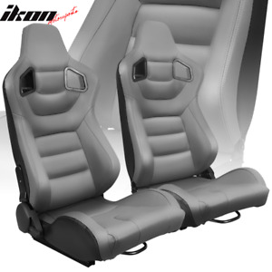 Universal Pair Reclinable Racing Seats Dual Sliders Grey Pu Carbon Leather