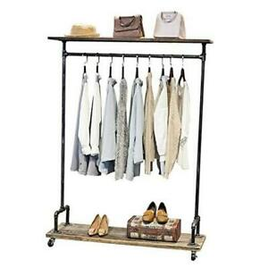 Industrial Pipe Clothing Rack On Wheels rolling Iron Garment Racks With