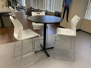 36 X 42 h Round Bar Height Cafeteria Table In Espresso Laminate