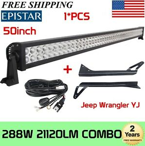 50 inch 288w Led Light Bar With Mounting Bracket Fits Jeep Wrangler Yj 87 95 Kit