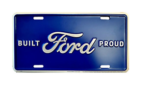 Built Ford Proud Blue Licensed Aluminum Metal License Plate Sign Tag