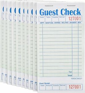 Stock Your Home Guest Check Book 10 Books 3 5 X 6 75 Server Note Green