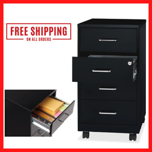 Rolling Filing Cabinet Steel With 4 Drawer Mobile Storage Organizer Home Office