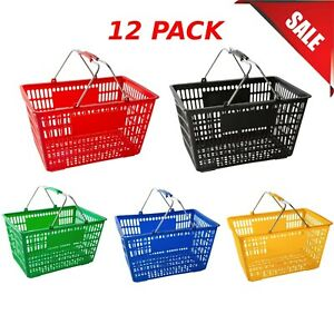 12 pack Multiple Colors Plastic Grocery Convenience Store Shopping Basket Tote