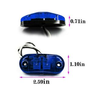 10pcs Blue Led Side Marker Light Camping Trailer Truck Indicators Lamp Dv 12 24v
