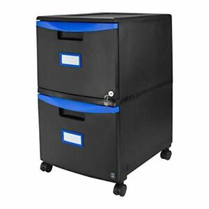Storex Plastic 2 drawer Mobile File Cabinet All steel Lock And Key Black blue