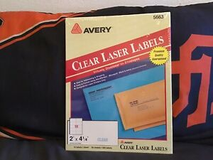 Avery Clear Laser Labels 5663 Sealed Package 2 X 4 1 3 500 Labels