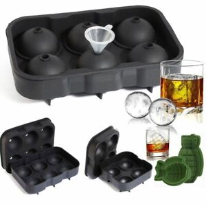 Grenade round Ice Cube Ball Maker Tray Silicone Sphere Mold Whiskey Cocktails Us