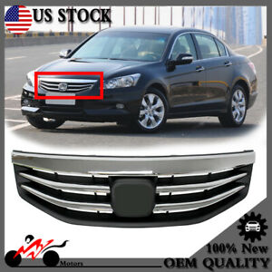 For Honda Accord 2011 2012 4dr Front Bumper Upper Grille Chrome Grill Radiator