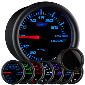 Used Glowshift Tinted 7 Color Boost Vacuum Gauge W Hose Kit