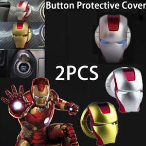 2pcs Iron Man Car Start Stop Button Engine Ignition Switch Cover Trim Interior