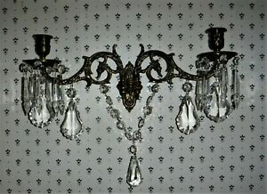 Antique French Wall Piano Candle Sconce L Pinet Brass Crystal Prisms