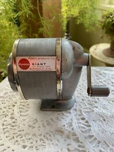 Vintage Apsco Giant Iiia Pencil Sharpener Wall Or Desk Mount 6 Hole Works Great