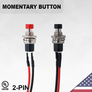 Heavy Duty Momentary Push Button Black 2 pin Switch On off Car Led Spst