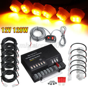 120w 6 Led Bulbs Hide A Way Emergency Hazard Warning Flash Strobe Light