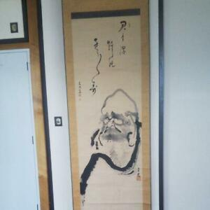 Hanging Scroll Bodhidharma Japanese Painting Antique Daruma From Japan Used