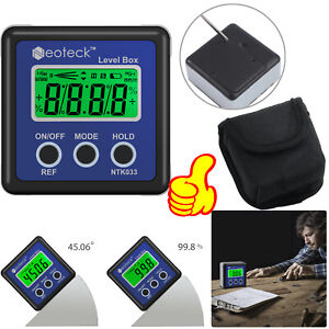 4 90 Magnetic Digital Protractor Angle Finder Bevel Level Box Inclinometer Lcd