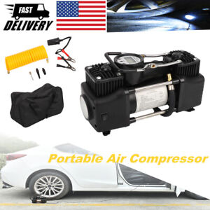 Double Cylinder Air Pump Compressor Portable Tire Pump Inflator Electric W Light