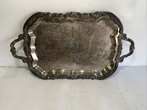 F B Rogers Silver Plated Butler Sized Metal Serving Tray Platter With Handles