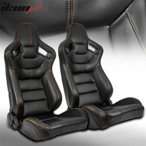 Universal 2pc Reclinable Racing Seat Dual Slider Pu Carbon Leather Orange Stitch