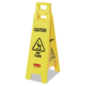 Rubbermaid Commercial Rcp611477yel 4 sided Caution Wet Floor Sign Yellow New