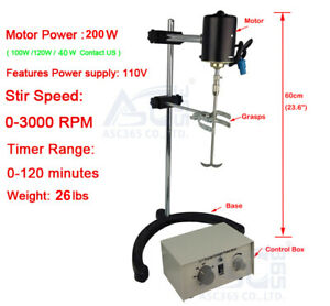 110v Lab Electric Overhead Stirrer Mixer Variable Speed 200w 1 2n m Us