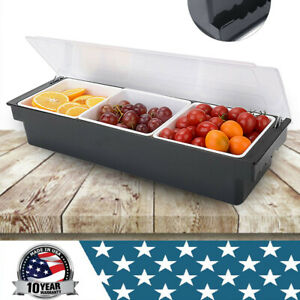 3 Compartments Condiment Dispenser Chilled Server Caddy Food Tray Salad Bar New