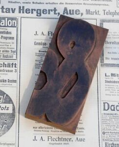 Huge Ampersand Letterpress Wooden Printing Block Art Nouveau Wood Type