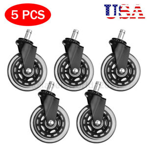 5 Pack Office Chair Caster Rubber Swivel Wheels Replacement Heavy Duty 3 Inch Us