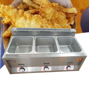 6l 3 Pan Gas Catering Food Warmer Steam Table Buffet Gas Fryer 50 380 c