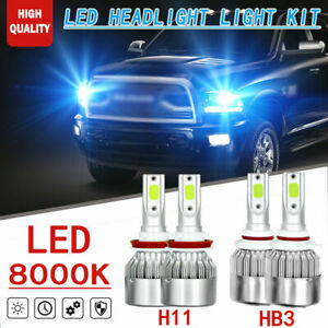 4pc Upgrade Ice Blue 9005 h11 Led Hi lo Beam Headlight Bulb For Dodge Ram 13 18