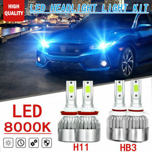 4x Led 36w Ice Blue Headlight Hb3 9005 h11 Replacement Kit For Honda Civic 16 18