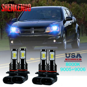 For Dodge Avenger 2010 14 Combo Led Headlight Kit Hi low Beam Bulbs Ice Blue 8k