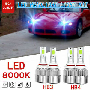 4pc Ice Blue Led 9005 9006 Headlight High low Beam For Mitsubishi 3000gt 1995 98