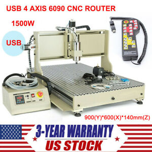 Usb Cnc Router 6090 4 Axis Engraver Engraving Machine Woodwork 1500w handwheel