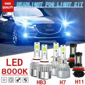 6x Ice Blue 9005 H7 Headlight h11 Fog Light Led Bulb For Mazda 3 2004 2005 2006
