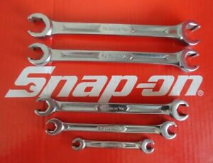 Snap On Tools 5 Pc Sae 6pt Double End Flare Nut line Wrench Set Rxfs605 Nice