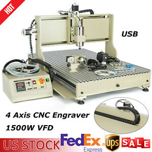 Usb 6090t 4 Axis Cnc Router Engraver 1500w Metal Wood Milling Engraving Machine