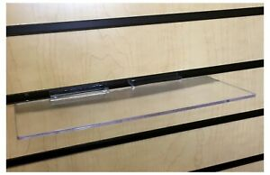 Slatwall 4 Inch X10 Inch Flat Clear Shoe And Merchandise Display Shelf 20 Pieces