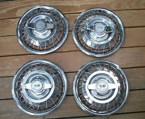 Vintage 4 Set 1962 1964 Chevy Ii Corvair Wire Spoke 2 Bar Spinner 14 Hubcaps