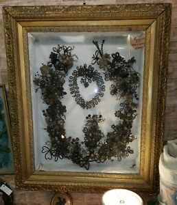 Antique Large Hair Wreath Victorian Mourning Memorial