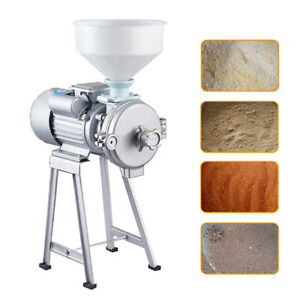 Electric Feed Iron Wet Dry Cereal Grinder Corn Grain Machine Rice Wheat Crusher