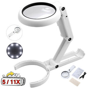 5 11X Magnifying Glass With Light 8 LED LAMP Magnifier Foldable Stand Table US $10.59