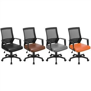 Modern Office Chair With Large Leather Seat Desk Chair With Wheels Armrests