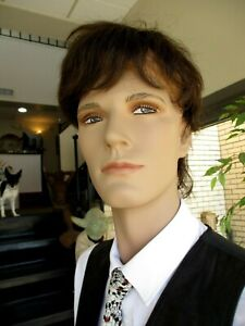 Male 6 Ft 2 Inch Realistic Male Mannequin With Hair Stand Stylishly Dressed