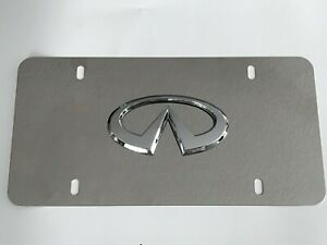 Infiniti Mirror Chrome Stainless Steel Metal Front License Plate With Caps