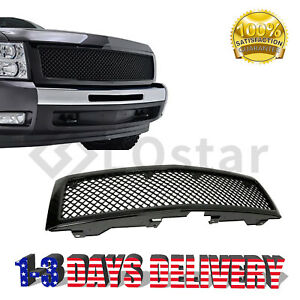 Glossy Black Front Hood Mesh Grill Grille For 07 13 Chevy Silverado1500