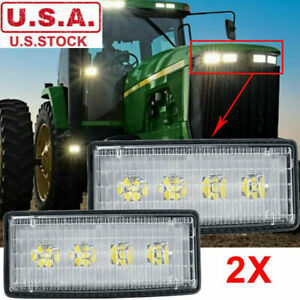 2x Led Headlight For John Deere Tractor Light Replace R161288 Re306510 Re37450